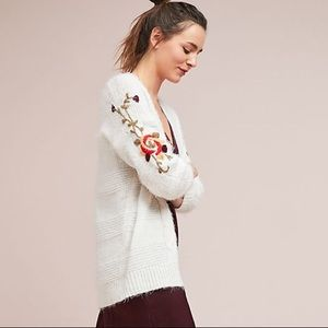 Anthropologie Embroidered Fuzzy Cardigan XS